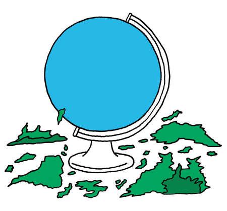 Continents scraped off globe