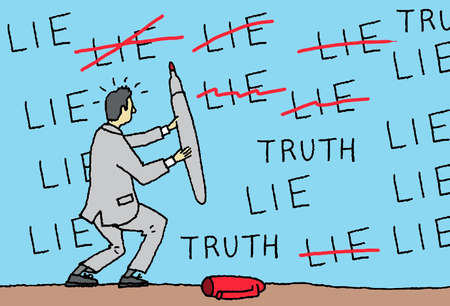 Businessman with red pen crossing out 'lie' text on wall