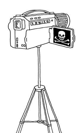 Skull and crossbones on screen of video camera