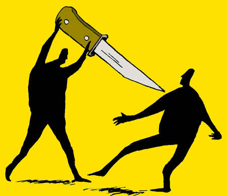 Man threatening man with large knife