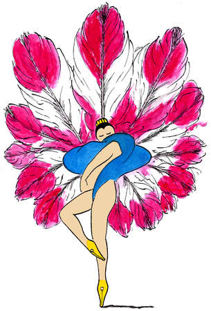 Nude showgirl with large feathers and fountain pen feet