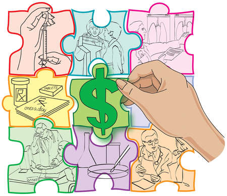 Jigsaw pieces with medical images and dollar sign in middle