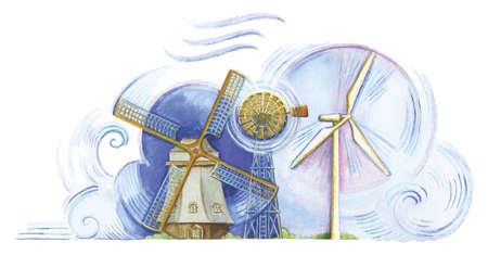 Old-fashioned windmill, farm windmill, and modern wind turbine