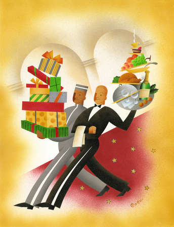 Bellhop and waiter carrying gifts and food