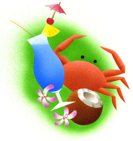 Illustration of tropical cocktail, crab, and coconut