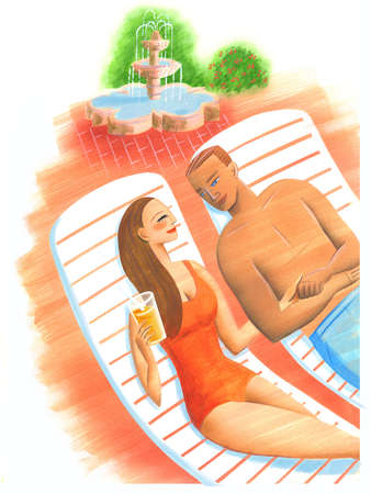 Couple in bathing suits laying on lounge chairs