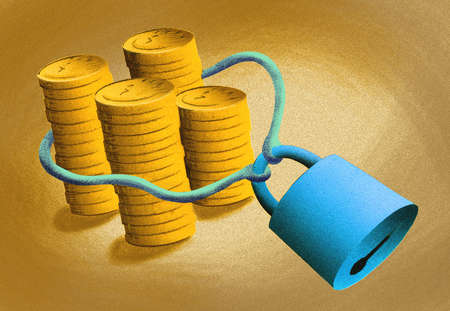 Padlock securing line around gold coins