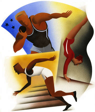 Illustration of gymnast and track & field athletes