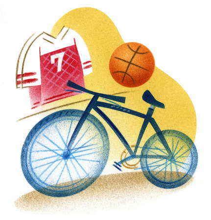 Illustration of bicycle, jersey, and basketball