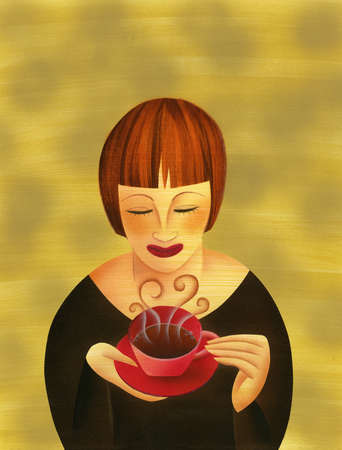 Woman drinking steaming cup of coffee