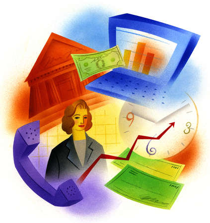 Businesswoman surrounded by finance images