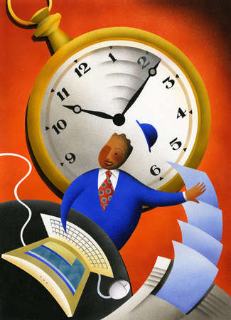 Businessman multi-tasking with stopwatch in background
