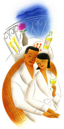 Couple in bathrobes drinking wine on terrace