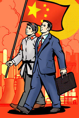 Businessmen walking with Chinese flag