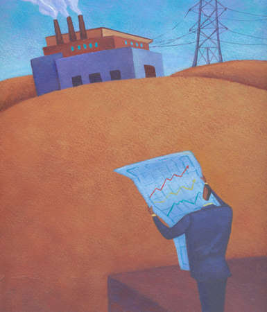 Businessman holding data chart with factory in distance