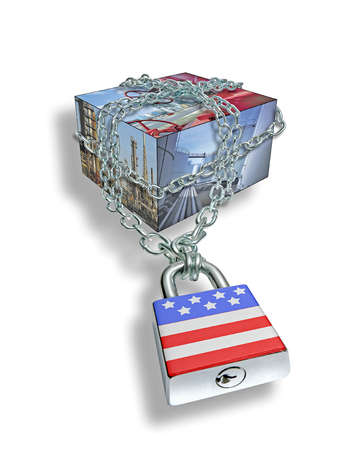 Box with factory images chained with American flag padlock