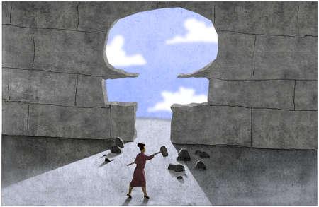 Woman breaking female symbol opening in wall