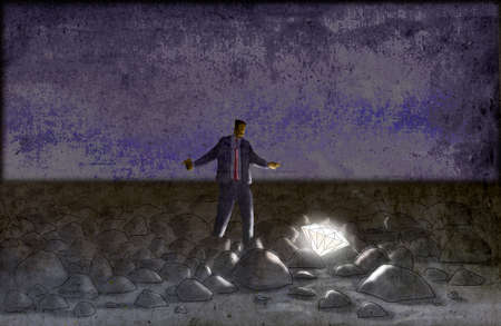 Businessman finding diamond among rocks