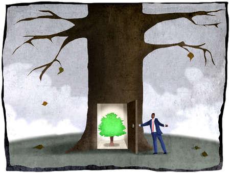 Businessman revealing healthy tree inside trunk of winter tree