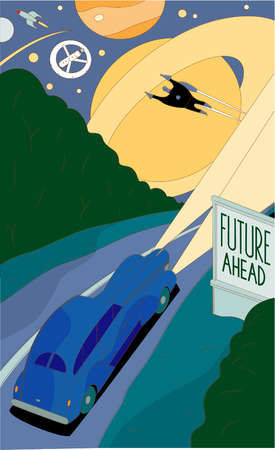 Car driving past 'Future Ahead' road sign