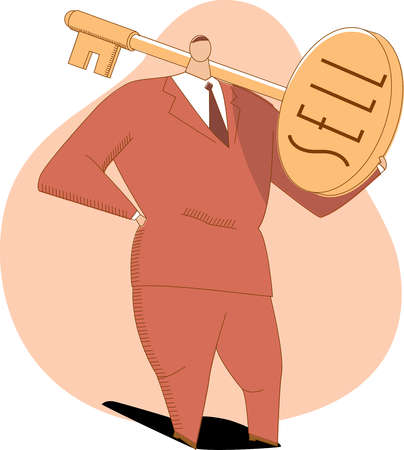 Businessman holding large key with text 'Sell'
