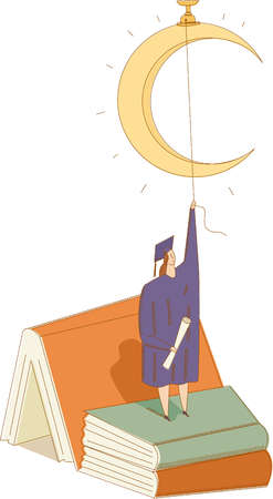 Female graduate holding string to crescent moon