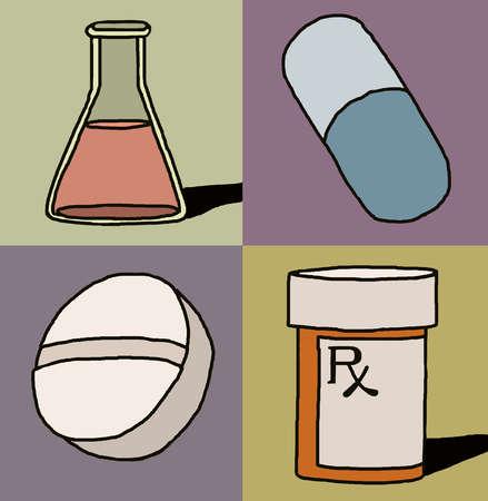 Prescription bottle, pill, capsule, and beaker
