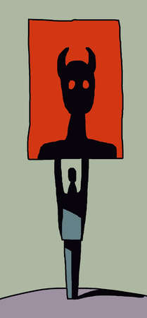 Man holding large image of devil silhouette