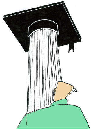 Man looking at mortar board on column