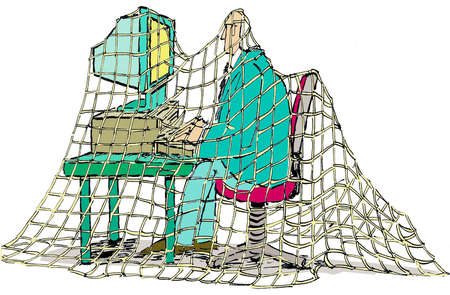 Man covered in netting working on computer