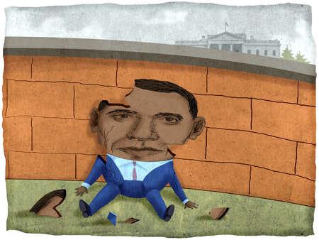 Broken political figure sitting by wall