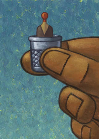 Stock Illustration - Hand holding tiny man in thimble