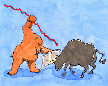 Bear and bull fighting over stock market
