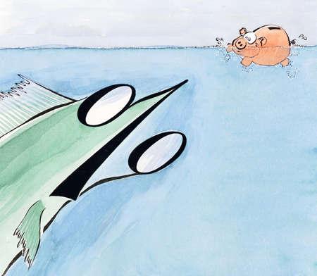 Percent fish swimming toward piggy bank
