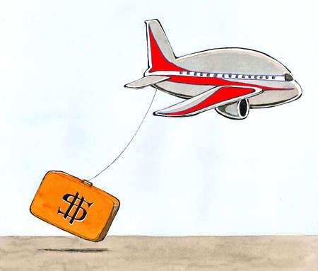 Airplane dragging suitcase