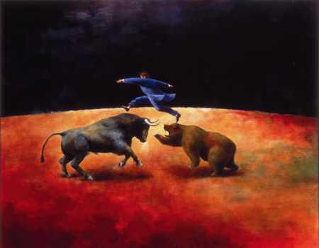 Businessmen Jumping Over Bear And Bull