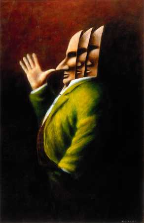Man With Masks And Thumb To His Nose