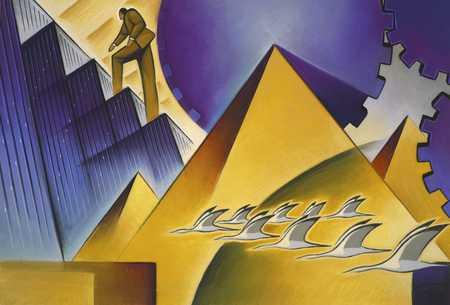 Man Climbing With Pyramids