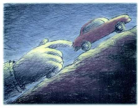 Hand pushing car