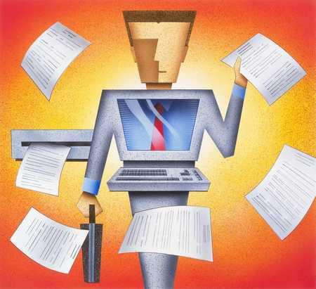 Computer Man With Printout