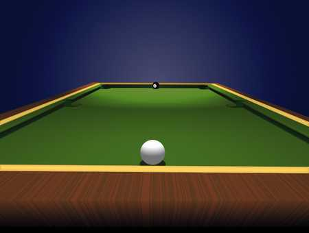 Pool table with cue and eight ball
