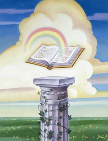 Open Book On Column With Rainbow