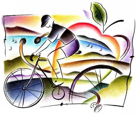 Biker, Apple And Stethoscope