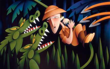 Man In Jungle With Alligators