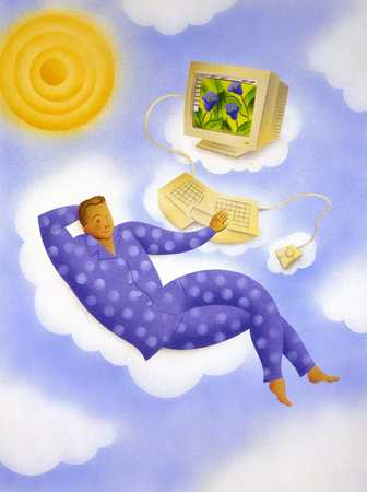 Man Lying In Clouds With Computer