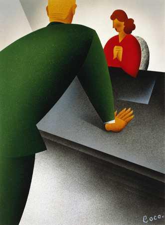 Man Talking To Woman Behind Desk
