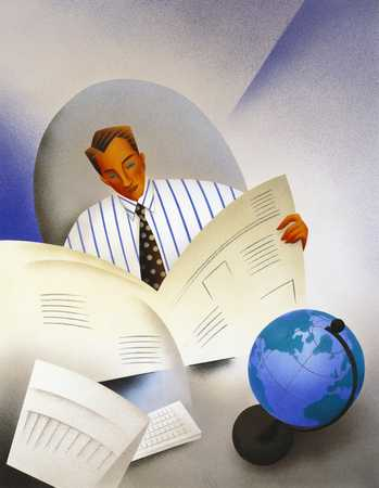 Man Reading Newspaper With Globe On Desk