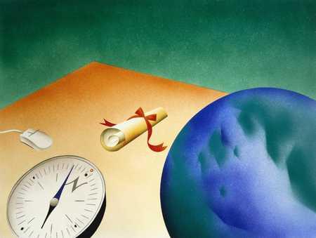 Compass, Globe And Diploma