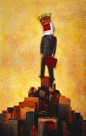 Businessman with computer monitor on head, standing on top of building