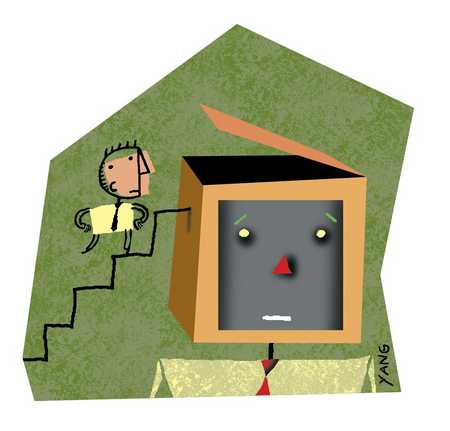 Man climbing stairs into computer head